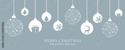 Fotografia merry christmas card with hanging ball decoration vector illustration EPS10