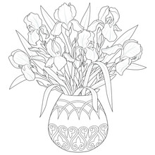 Vase With Irises Black And White Illustration For Coloring