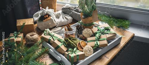Fotografie, Obraz Christmas zero waste eco Care package,furoshiki gifts environmentally friendly g