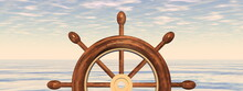 Steering Wheel Of A Ship In Front Of The Sea At Sunset - 3D Render