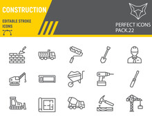 Construction Line Icon Set, Repair Collection, Vector Sketches, Logo Illustrations, Construction Icons, Building Equipments Signs Linear Pictograms, Editable Stroke.