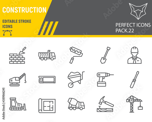 Foto Construction line icon set, repair collection, vector sketches, logo illustrations, construction icons, building equipments signs linear pictograms, editable stroke