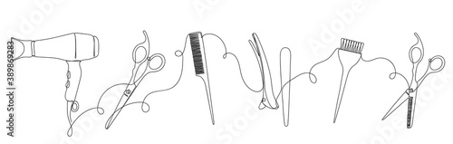 Hairdresser details in linear style on white.