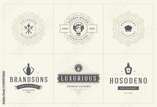 Papel de parede Restaurant logos templates set vector illustration good for menu labels and cafe
