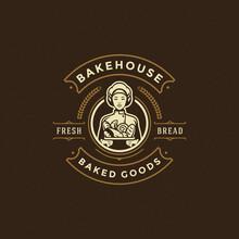Bakery Badge Or Label Retro Vector Illustration Baker Women Holding Basket With Bread Silhouette For Bakehouse