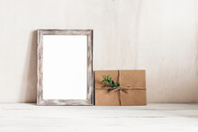 Blank White Photo Frame And Le...