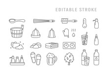 Sauna, Editable Stroke Icons Set. Linear Pictogram Of Classic Bath Tools, Banya Accessory. Black Illustration Of Wooden Tub, Ladle, Hat, Broom, Beer Mug, Brush, Soap, Slippers. Contour Isolated Vector