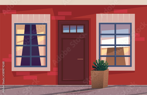 Foto The illustration with an wooden front door and part of wall with windows in evening time, house exterior building s facade element