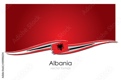 Wallpaper Mural Albania Flag with colored hand drawn lines in Vector Format