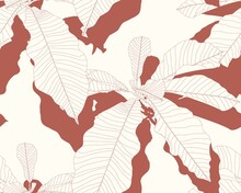 Nature Seamless Pattern. Hand Drawn Abstract Tropical Summer Background: Exotic Tree Magnolia Leaves In Silhouette, Line Art. Vintage Brown Retro Colors.