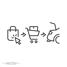 Click And Collect Order, Icon,...