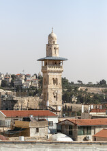 View From The Roof Of The Austrian Hospice Building To The Bab Al-Silsila Minaret On The Temple Mount And The Old City Of Jerusalem In Israel