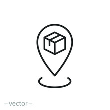 Receive Order In Pick Up And Collection Point, Click And Collect Icon, Delivery Services, E-commerce Concept - Editable Stroke Vector Illustration Eps 10