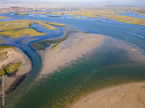 Foto Aerial view of wetlands as seen from sky