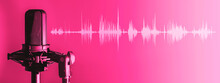 Microphone With Waveform On Pink Background, Broadcasting Or Podcasting Banner