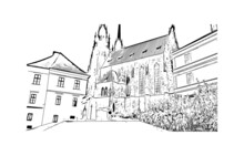 Building View With Landmark Of Brno Is A City In The Czech Republic. Hand Drawn Sketch Illustration In Vector.