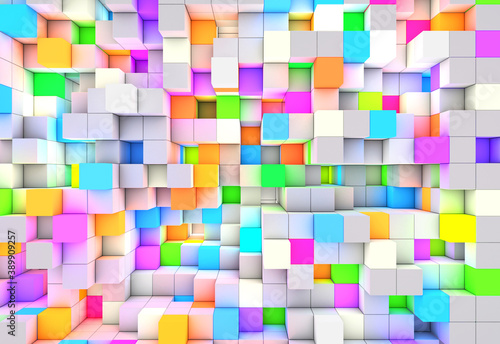 Obraz 3D rendering abstract background color light cubes - fototapety do salonu