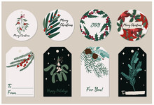 Beautiful Christmas Gift Tags With Festive Plants And Florals. Vector Hand Drawn Illustration Of Fir Pine Needles, Mistletoe, Holly And Berries. Stylish Flat Elements For Your Design.