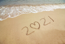 Sign 2021 On The Sand. Sign On The Beach. New Year. Seascape.