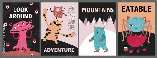 Fototapeta Monsters greeting cards set