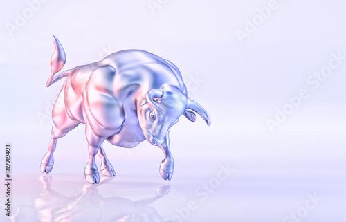 Cuadros en Lienzo White metal bull isolated, light background, horoscope illustration