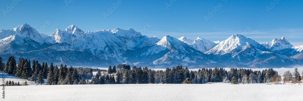 Fototapeta Panorama Landschaft im Winter im Allgäu
