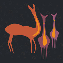 Illustration Of Three Deer