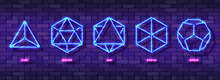 Set Of Mystic Esoteric Neon Colorful Symbols. Five Minimal Ideal Platonic Solids. Sacred Geometry Sign Template Design. Night Glow Icons For Bright Advertising Backgrounds. Vector Illustration EPS 10