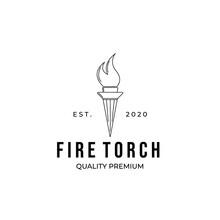 Fire Torch Logo Line Art Minimalist Vector Illustration Logo