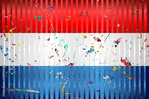 Photo Netherlands flag with color stains - Illustration,  Three dimensional flag of Ne