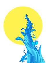 Blue Drawing Beanstalk With Ye...