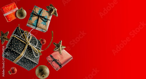 Canvastavla White Christmas gift boxes falling or flying in motion on red background