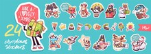 Set Of Cute Merry Christmas And Happy New Year Characters. Vector