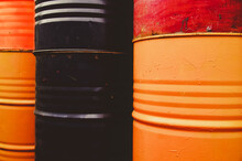 Old Rusty Multicolored Metal Barrels  Background