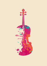 Creative Bright Musical Illustration. Vector Design Of An Abstract Violin In The Form Of Multi Colored Paint Spots And Splashes On A Light Background In Retro Style