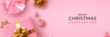 Christmas Banner. Background Xmas Design Of Realistic Pink Gift Box, Golden 3d Render Snowflake And Glitter Gold Confetti, Bauble Ball. Horizontal Christmas Poster, Greeting Card, Headers For Website
