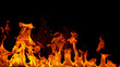 canvas print picture - fire flames with sparks on a black background, close-up