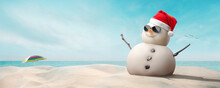 Concept - Happy Sandy Snowman With Sunglasses And Santa Hat On Sunny Christmas Day Afternoon