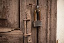 Old Closed Rusty Lock On Vinta...
