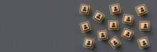 Cubes With People Symbols On Grey Background
