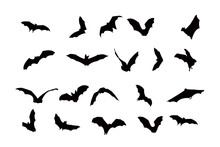 Bat Silhouette Icon Vector Set...