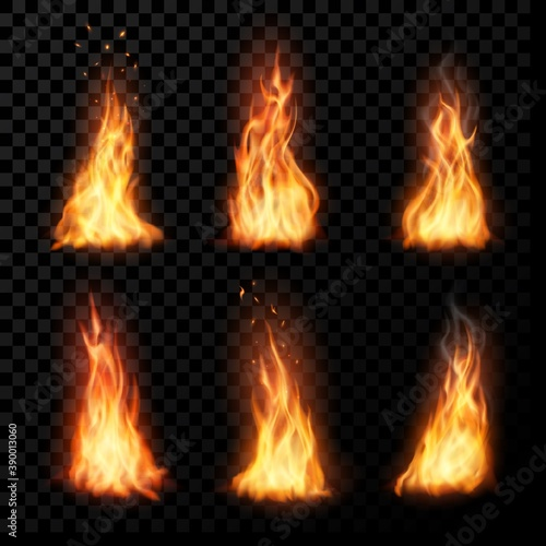 Obraz Fire, vector campfire, isolated torch flame. Burning bonfire blaze effect, glow orange and yellow shining flare with sparks, flying particles, embers and steam. Realistic 3d ignition tongues set - fototapety do salonu