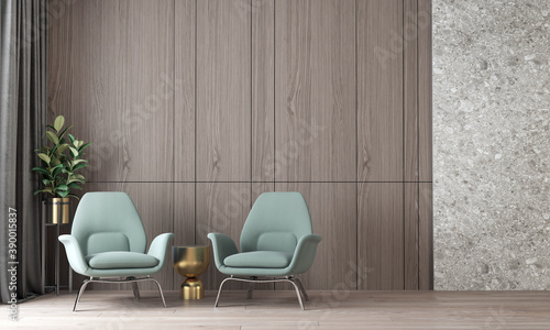 Fototapeta Modern Style Interior of luxury and cozy living room and wood wall texture backg