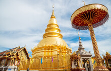 Wat Phra That Hariphunchai An Iconic Buddhist Pagoda In Lamphun Province, Thailand. Its Lanna Style Chedi Enshrines A Relic Of The Buddha.