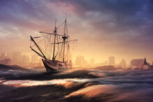Landscape Illustration Of Sea ...