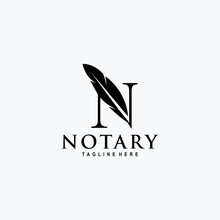 Initial / Monogram N For Notary Logo Vector