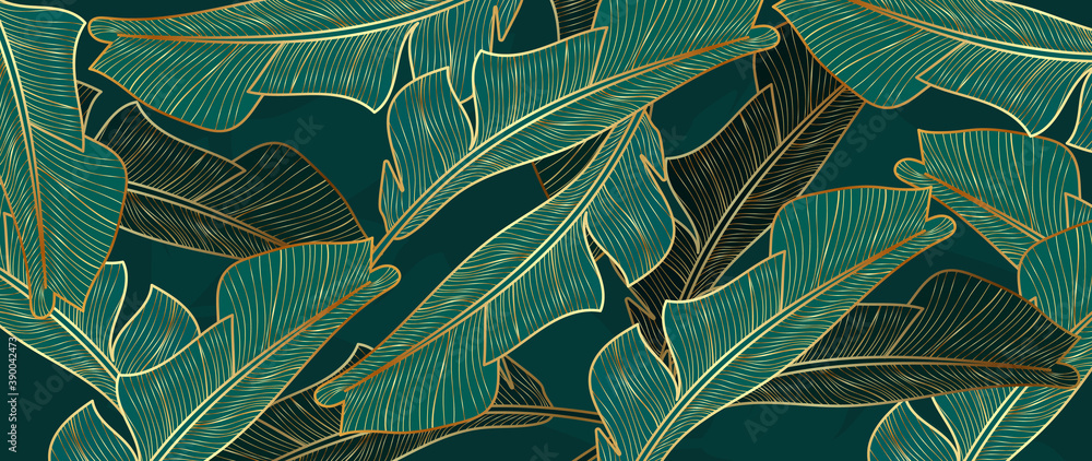 Fototapeta Gold and luxury banana leaves background vector. Floral pattern with golden tropical palm, coconut tree, split-leaf Philodendron plant ,Jungle plants line art on white background.
