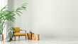 Leinwandbild Motiv Interior with armchair and wooden coffee tables 3d rendering