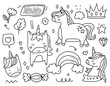 Unicorn princess doodle cartoon drawing vector set