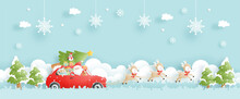 Christmas Card With Vintage Truck, Santa And Friends